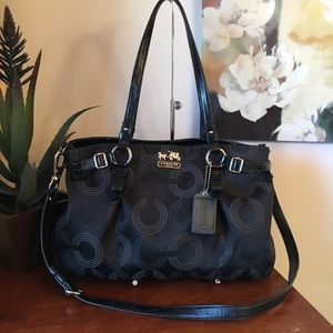 Coach Madison Signature Op Art Satchel 16366 Black