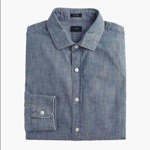 J. Crew Button Down Men's Shirt Size L Denim Blue