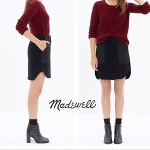 Madewell Black quilted wool shirttail skirt!
