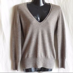 The Limited Wool Silver/Tan V-Neck Sweater, M