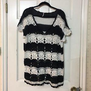 Free People Black White Crochet Stripe Lace Tunic