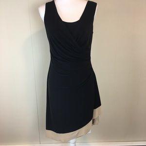 Anne Klein Women's Dress Size 4 Black w Tan Band