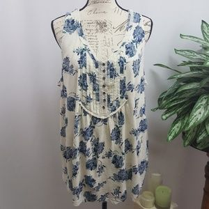 Lucky Brand Plus Size Floral Sleeveless Top 2X