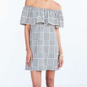 Urban Outfitters Gingham Off The Shoulder Dress