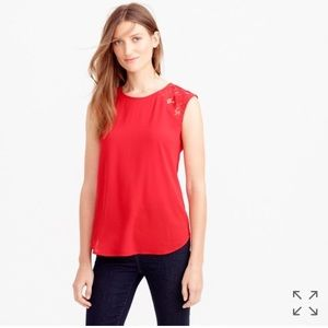 J Crew Floral Lace-Shoulder sleeveless Top Red, 12
