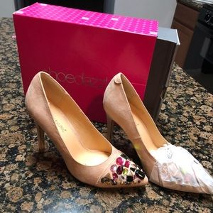 NWT nude suede jeweled heels