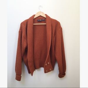 Vintage Chunky Burnt Orange Chunky Cardigan