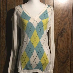 Argyle long sleeve sweater