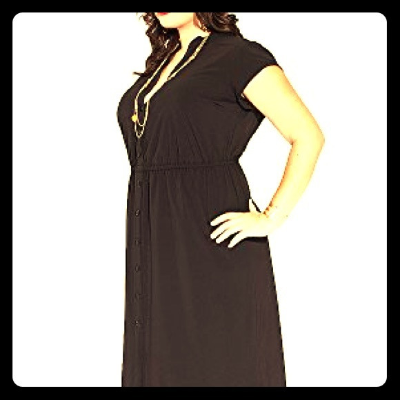 Igigi plus size maxi black shirt dress 18/20