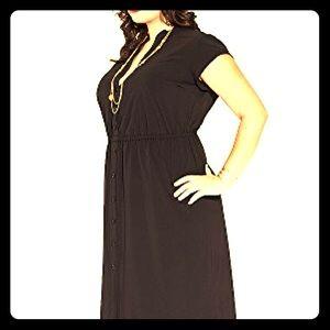 Igigi plus size maxi black shirt dress 18/20
