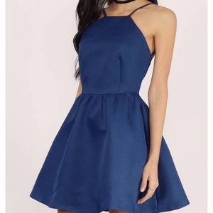 Navy High-Necked Skater Dress