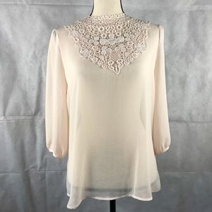 Forever 21 3/4 Sleeve Blouse Woven Peach Lace NWT