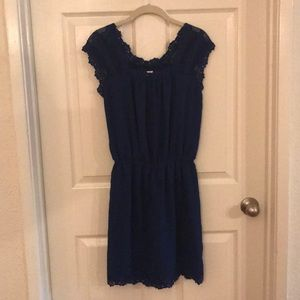 Max Studio Sz S day dress lace Dark Cobalt Blue