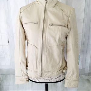 Mossimo Genuine Leather Taupe Women's Jacket Mediu