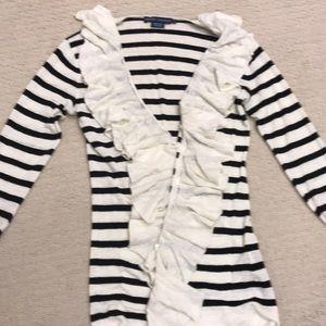 Ralph Lauren Linen Black and Cream ruffled sweater