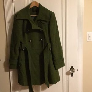 Laundry double breasted green wool winter coat