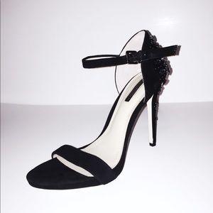 BCBG Classic Velvet Ankle Strap Heels