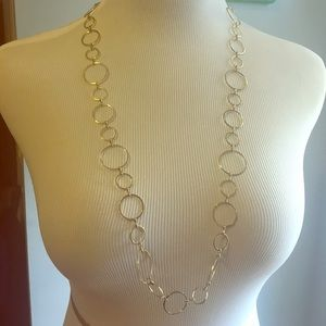 Long gold-color link hoop link necklace