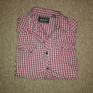 Red snap XL button down.