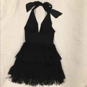 BCBG Max Azria Lace Tiered Feather Chiffon Dress