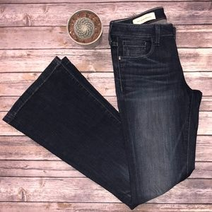 Pilcro for Anthro Dark Wash Flare Stet Jeans