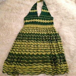 Anthropologie crochet-knitted halter slip dress