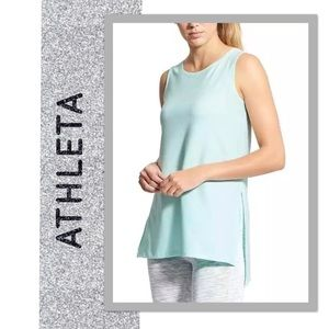 Athleta Side Split Sleeveless Tank Top Blue Tint S