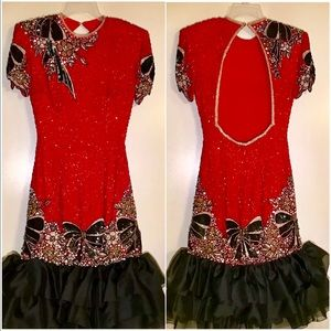 Vtg Liza Carr Silk Sequins Dress Christmas NYE