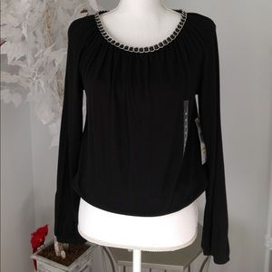 Jones of NY Chain Neck Black blouse
