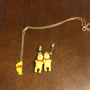 Pooh Necklace and Earrings