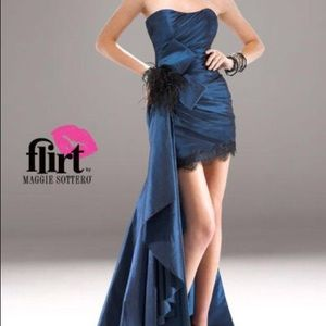 Flirt by Maggie Sottero peacock blue cocktail gown