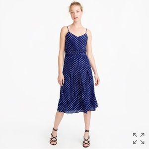 NWT j. crew Navy Silk Polka Dot cami dress size 0