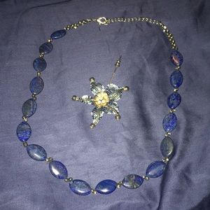 Navy blue Necklace and pin