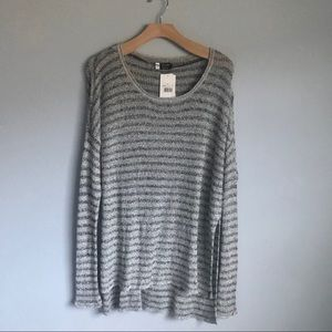 VOLCOM Gray and White Striped Pullover Sweater