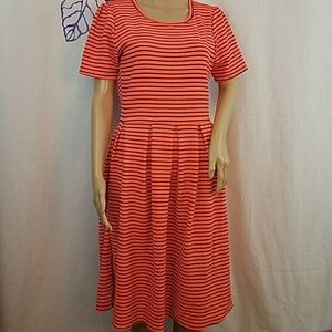 LuLaRoe Amelia orange & blue striped dress.  0257
