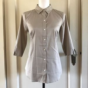 ANN TAYLOR - Khaki Button Down Cotton Shirt 4 / S