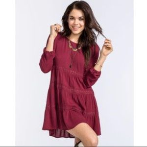 Burgundy Long Sleeve Babydoll Dress