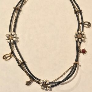 Lucky Brand Silver Floral & Black Cord Necklace