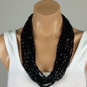 Vintage Black Chunky Bead Necklace
