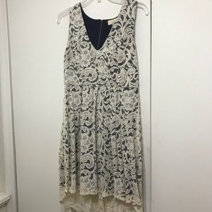 Tan lace with navy underlay dress