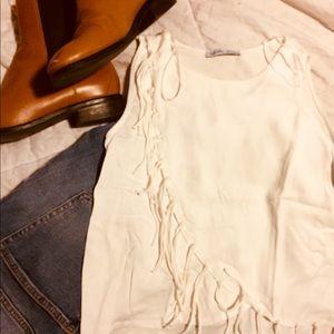 Zara White Fringed Blouse