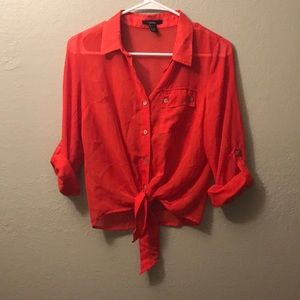 Red crop tie blouse!