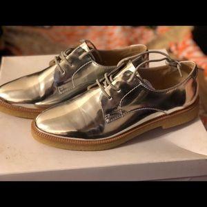 Zara Metallic Silver Oxford Loafers