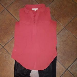 Ann Taylor orange sleeveless blouse