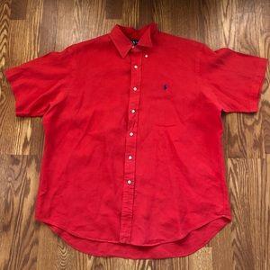 Vtg Polo Ralph Lauren button down linen shirt