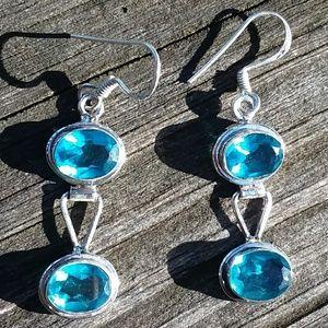 Jewelry - PRETTY blue TOPAZ? Gem STONE earrings. SILVER