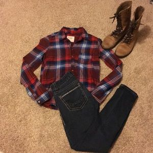 Red Blue and white plaid flannel shirt