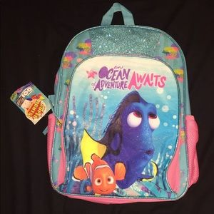 """Finding Dory 16"""" Back Pack With Lights Pink Blue"""