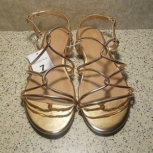 NWT Metallic Rose Gold Sandals Merona