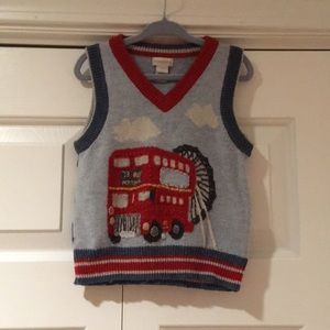 Monsoon UK boys London bus sweater vest age 3